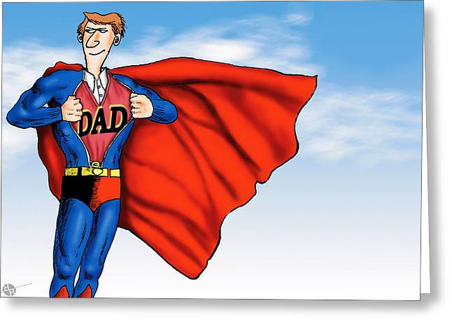 Chest Mixed Media Greeting Cards - Daddys Home Superman Dad Greeting Card by Tony Rubino