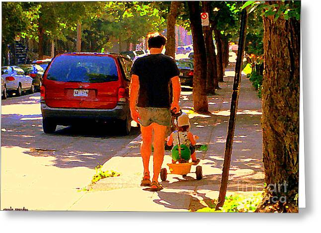 Daddy's Little Buddy Perfect Day Wagon Ride Montreal Neighborhood City Scene Art Carole Spandau Greeting Card by Carole Spandau