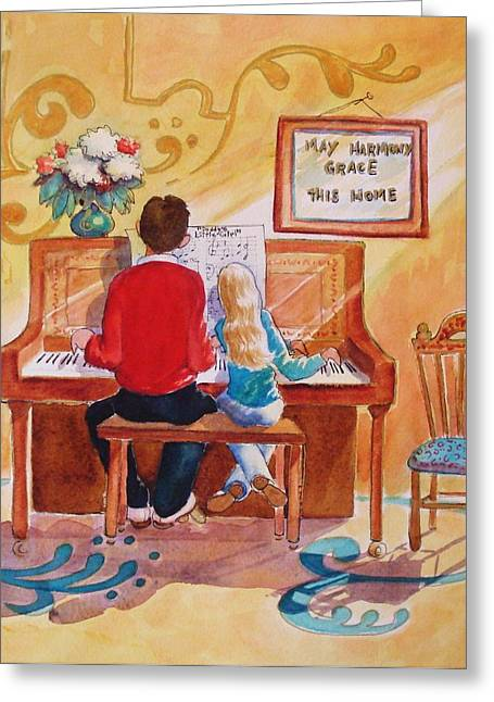 Piano Greeting Cards - Daddys Little Girl Greeting Card by Marilyn Jacobson