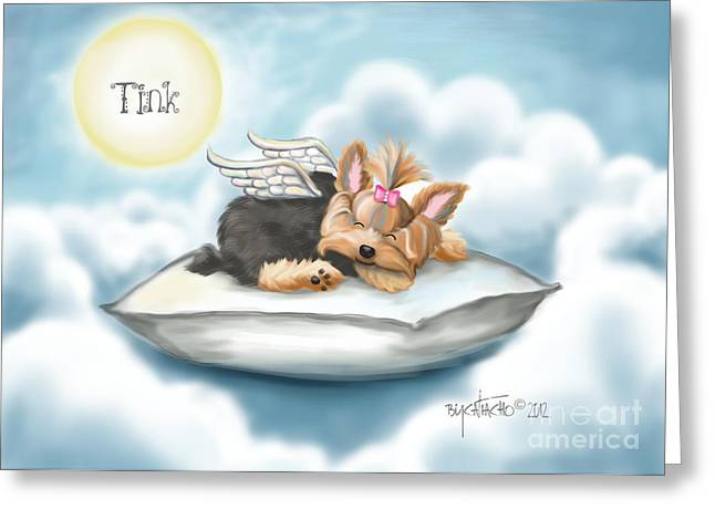 Tink Greeting Cards - Daddys pillow in heaven Greeting Card by Catia Cho