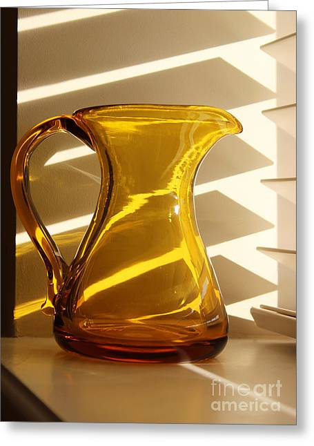 Reflection Glass Greeting Cards - Dads Amber Pitcher by Blenko Glass Greeting Card by Karen Adams