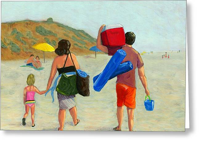 Digging In The Sand Greeting Cards - Dads Day Off Greeting Card by Karyn Robinson