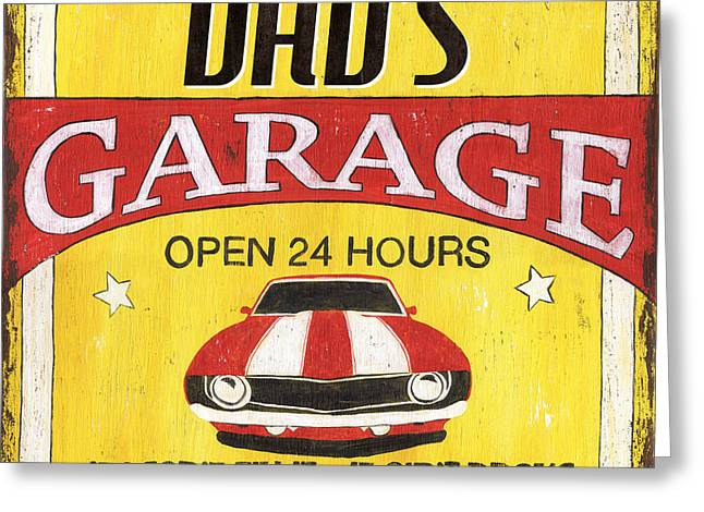 Retro Typography Greeting Cards - Dads Garage Greeting Card by Debbie DeWitt