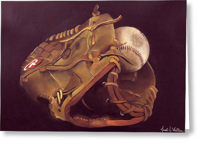 Baseball Gloves Paintings Greeting Cards - Dads Glove Greeting Card by Jared Wilkins