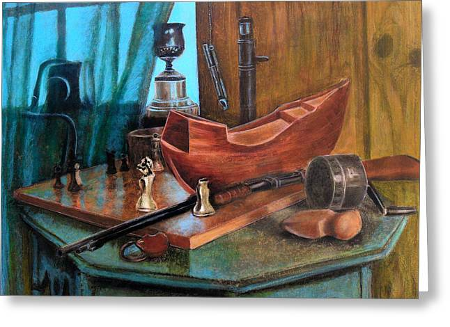 Interior Still Life Pastels Greeting Cards - Dads Things Greeting Card by Karen Roncari