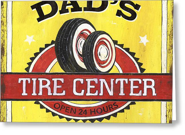 Retro Typography Greeting Cards - Dads Tire Center Greeting Card by Debbie DeWitt