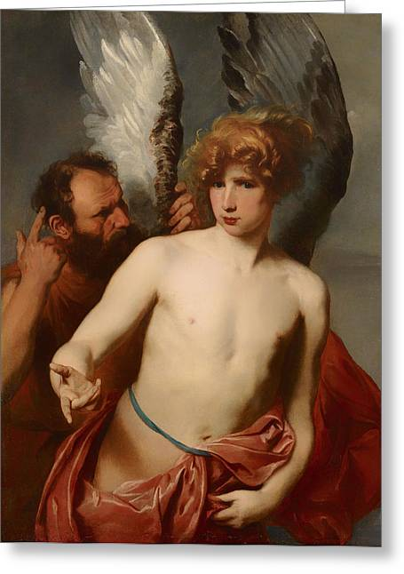 Fabled Greeting Cards - Daedalus and Icarus Greeting Card by Anthony van Dyke