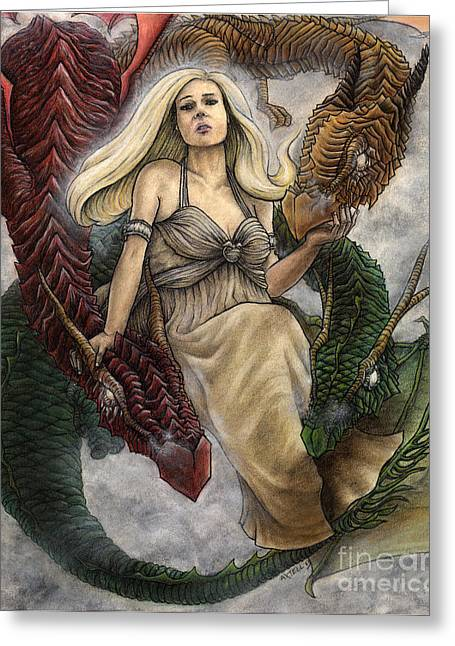 Shading Drawings Greeting Cards - Daenerys and Her Dragons Greeting Card by Jason Axtell