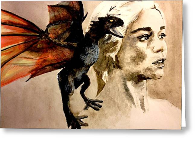 Recently Sold -  - First-lady Greeting Cards - Daenerys Khaleesi Mother of Dragons Greeting Card by Lauren Anne