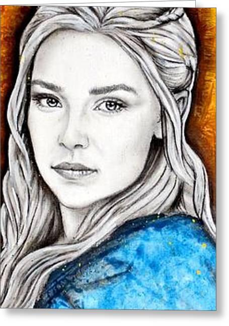 Acrylic Art Greeting Cards - Daenerys Targaryen Greeting Card by Anastasis  Anastasi