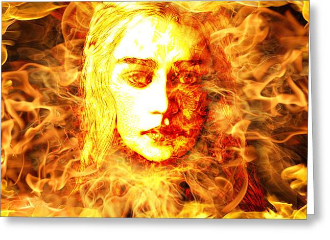 The Digartist Greeting Cards - Daenerys Targaryen Bride of Fire Mother of Dragons Greeting Card by The DigArtisT