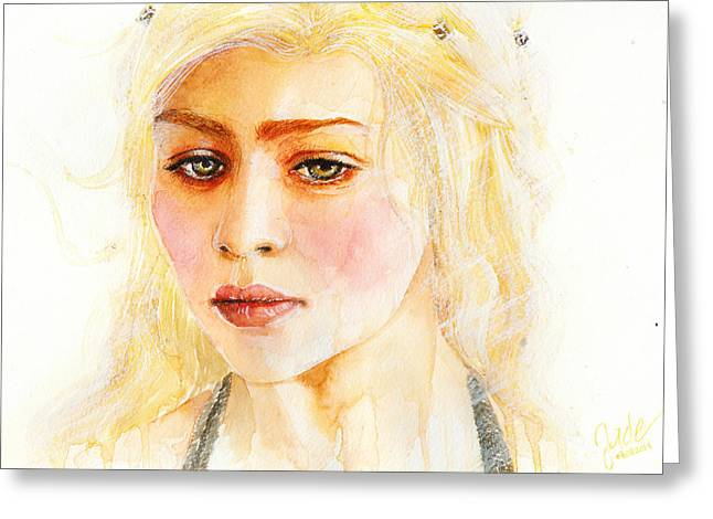 Ice And Warm Colors Greeting Cards - Daenerys Targaryen Greeting Card by Elisabeth Vania