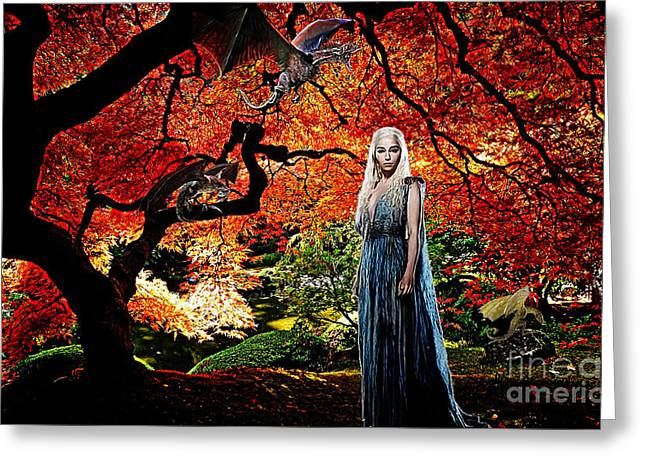 Get Greeting Cards - Daenerys Targaryen Mother of Dragons Greeting Card by The DigArtisT