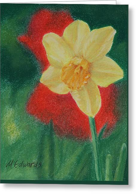 Wishes Pastels Greeting Cards - Daffodil and Poppies Greeting Card by Marna Edwards Flavell
