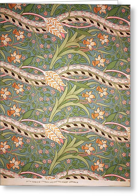 Leafs Tapestries - Textiles Greeting Cards - Daffodil Chintz Greeting Card by John Henry Dearle