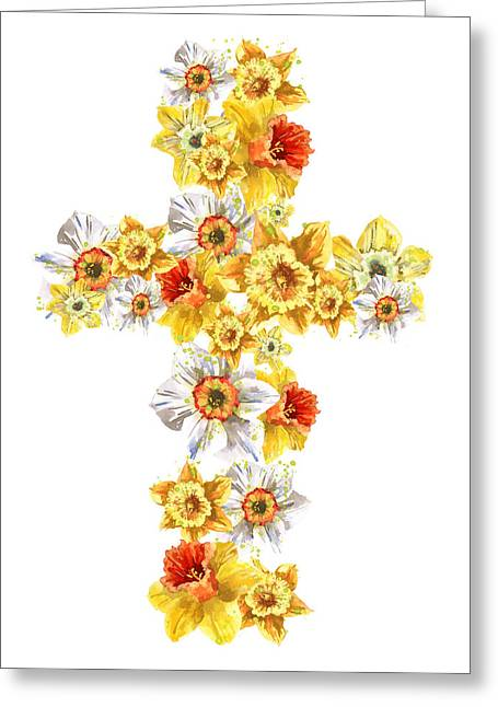 Religious Art Greeting Cards - Daffodil Cross Greeting Card by Alison Fennell