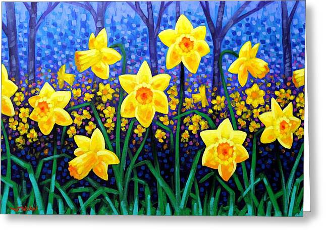 Acrylic. Green Greeting Cards - Daffodil Dance Greeting Card by John  Nolan