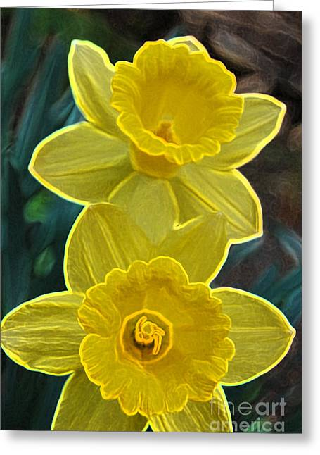 Child Care Mixed Media Greeting Cards - Daffodil Duet by jrr Greeting Card by First Star Art