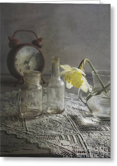 Glass Bottle Greeting Cards - Daffodil Greeting Card by Elena Nosyreva