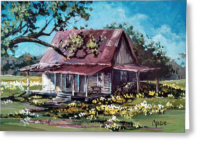 Tin Roof Paintings Greeting Cards - Daffodil Hill Greeting Card by Cynara Shelton