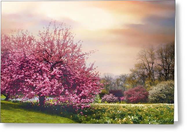 Orchard Digital Art Greeting Cards - Daffodil Hill Greeting Card by Jessica Jenney