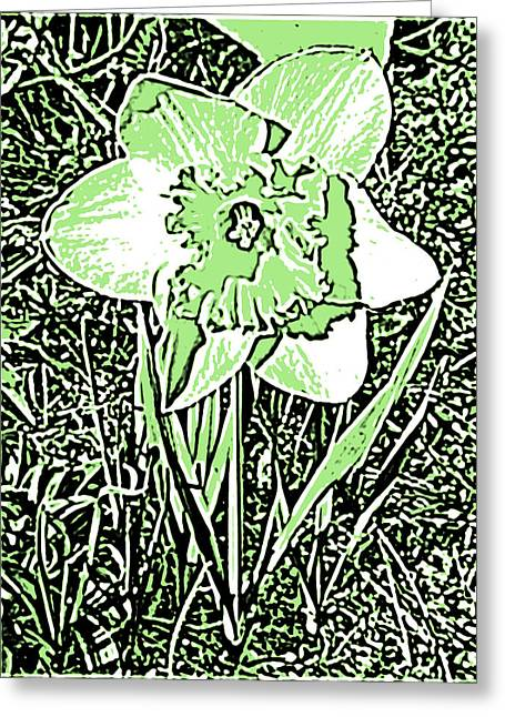 Flower In Pen And Ink Greeting Cards - Daffodil Pen and Ink in Green Greeting Card by Marian Bell