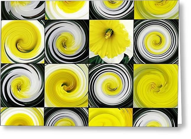 Sarah Loft Greeting Cards - Daffodil Spring Mosaic Greeting Card by Sarah Loft
