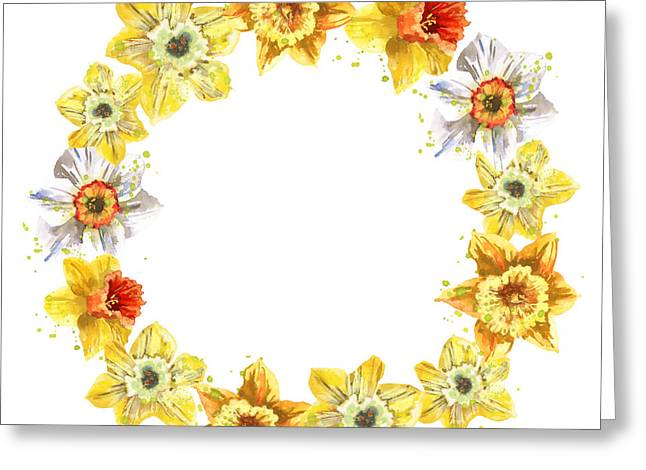 Daffodils Paintings Greeting Cards - Daffodil Wreath Greeting Card by Alison Fennell