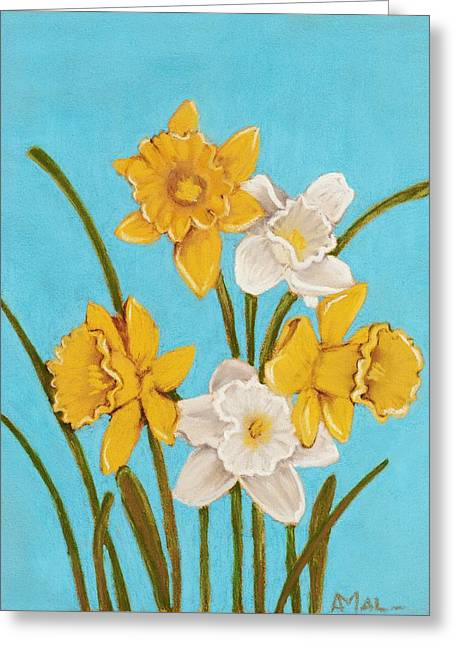 Hope Pastels Greeting Cards - Daffodils Greeting Card by Anastasiya Malakhova