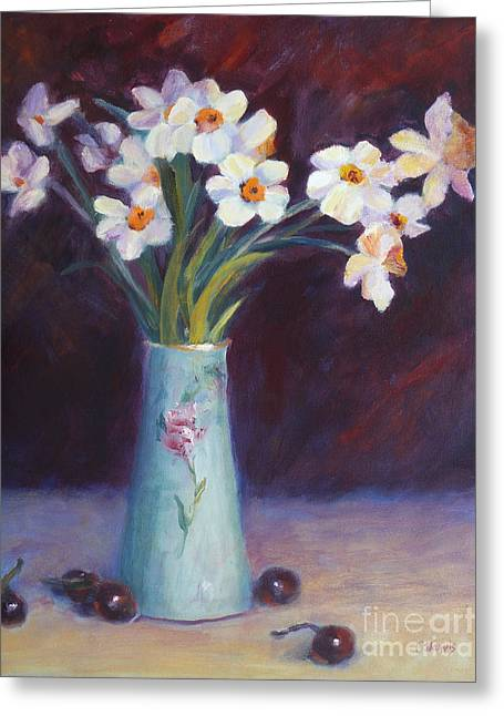 Still Life With Daffodils Greeting Cards - Daffodils and Cherries Greeting Card by Carolyn Jarvis