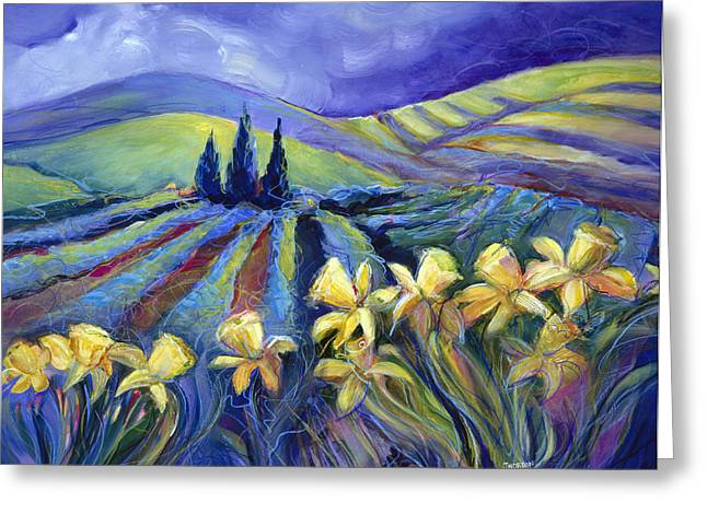 Expressionistic Greeting Cards - Daffodils and Stormclouds Greeting Card by Jen Norton