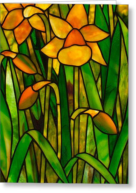 Art Nouveau Glass Art Greeting Cards - Daffodils Greeting Card by David Kennedy