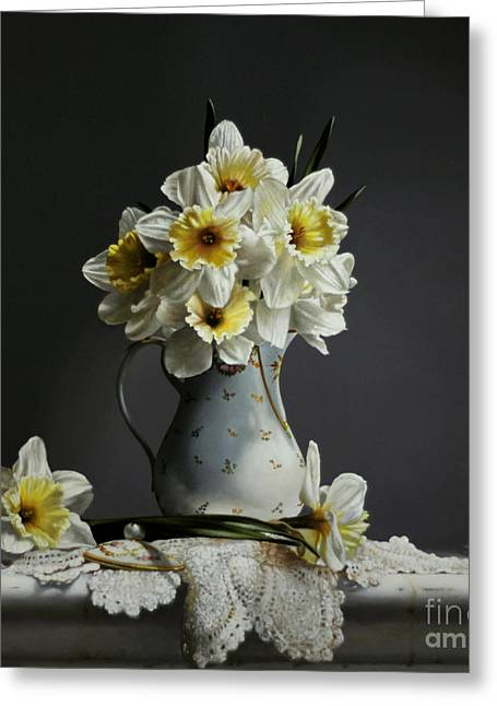 Pitcher Paintings Greeting Cards - Daffodils Greeting Card by Larry Preston