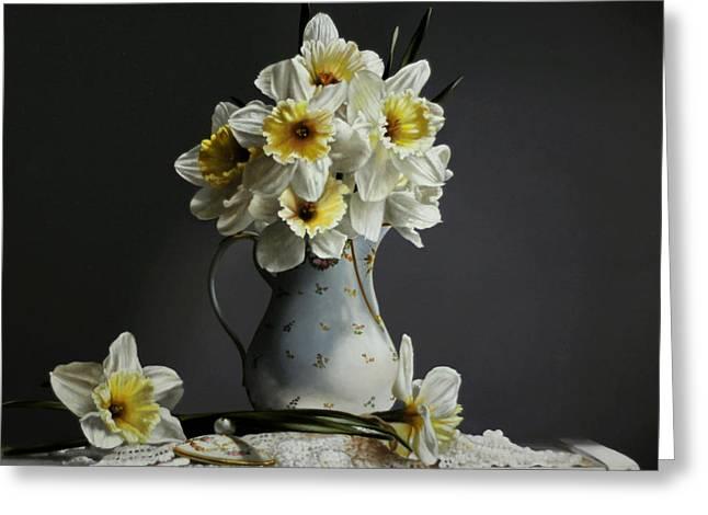 Daffodils Greeting Card by Larry Preston