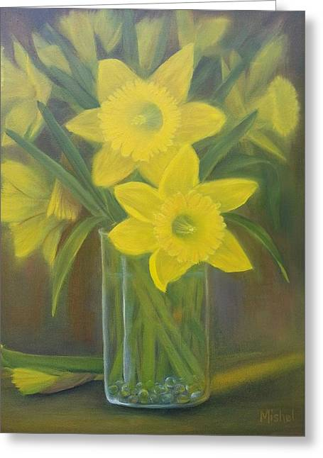 Silicon Valley Art Greeting Cards - Daffodils  Greeting Card by Mishel Vanderten
