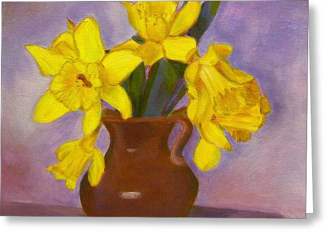 Robie Benve Greeting Cards - Daffodils on Purple Greeting Card by Robie Benve