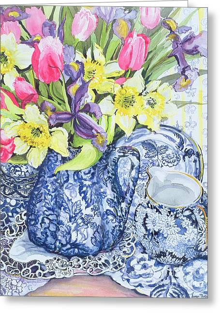 Doily Greeting Cards - Daffodils Tulips and Irises with Blue Antique Pots  Greeting Card by Joan Thewsey