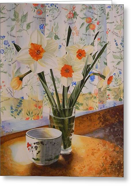 Adel Nemeth Greeting Cards - Daffodils with red ribbon Greeting Card by Adel Nemeth