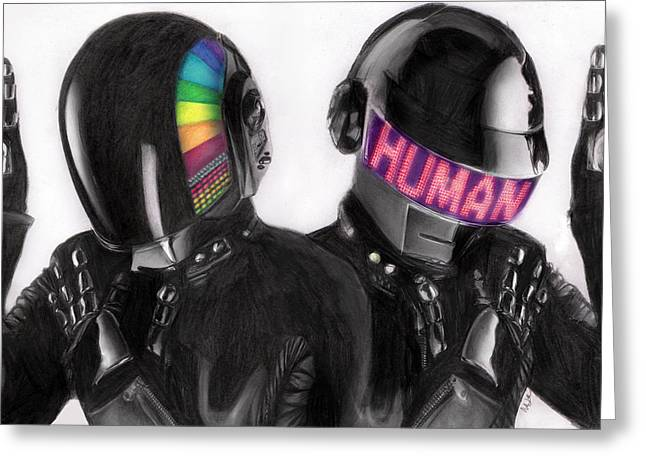 Daft Punk Greeting Card by Nat Morley
