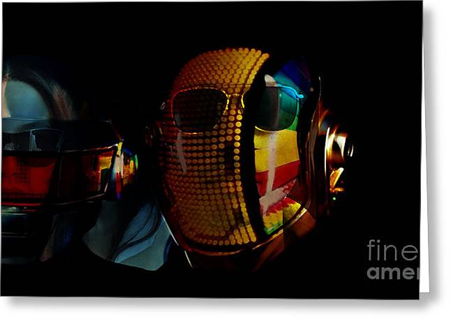 Daft Punk Pharrell Williams  Greeting Card by Marvin Blaine