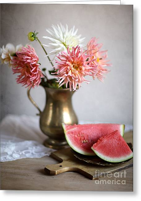 Watermelon Photographs Greeting Cards - Dahlia and Melon Greeting Card by Nailia Schwarz