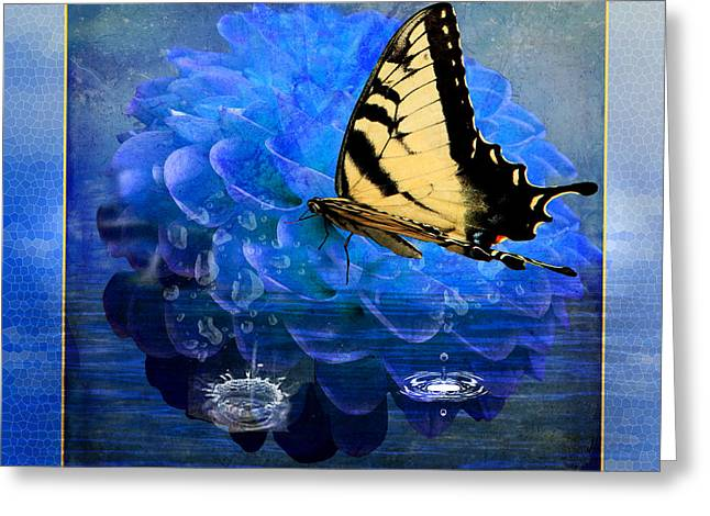 Tiger Swallowtail Digital Art Greeting Cards - Dahlia and the Butterfly Greeting Card by EricaMaxine  Price