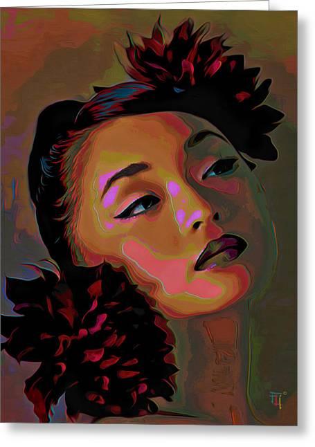 Flowers On Head Greeting Cards - Dahlia Greeting Card by  Fli Art