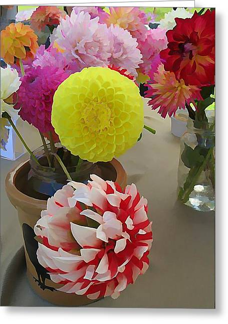 First-rate Greeting Cards - Dahlia crazed Greeting Card by Anne Sterling