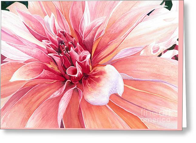 Dinner-plate Dahlia Greeting Cards - Dahlia Dazzler Greeting Card by Barbara Jewell