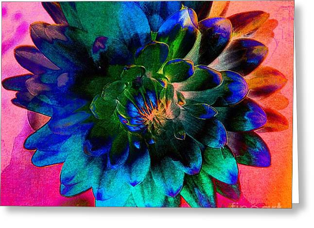 Struckle Greeting Cards - Dahlia With Textures Greeting Card by Kathleen Struckle