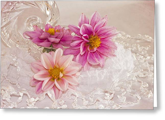 Interior Still Life Greeting Cards - Dahlias And Lace Greeting Card by Sandra Foster