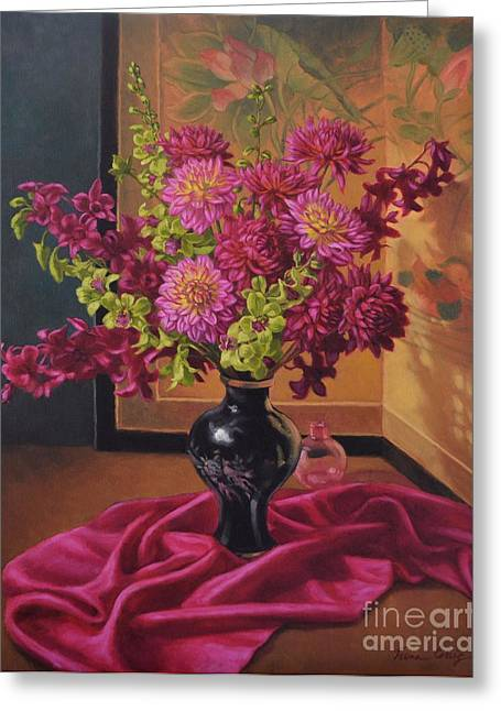 Silk Screen Greeting Cards - Dahlias and Orchids on Silk Greeting Card by Fiona Craig