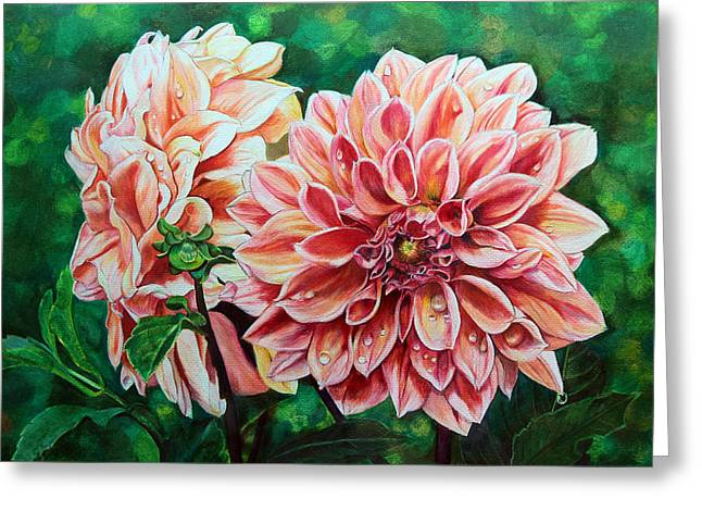 Painted Details Drawings Greeting Cards - Dahlias Beauty Drawing Greeting Card by Janet Pancho Gupta