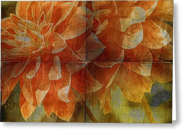 Tangerine Greeting Cards - Dahlias Greeting Card by Bonnie Bruno